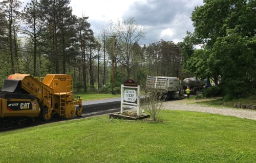 Even the road is getting recycled here at the Black Sheep Inn!