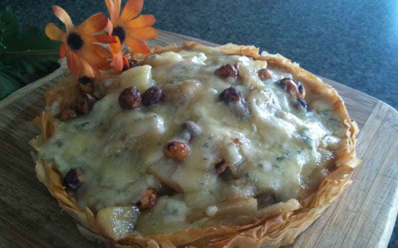 Pear and Rogue Creamery Oregonzola Tart with Sweet and Spicy Oregon Hazelnuts in a Phyllo Crust