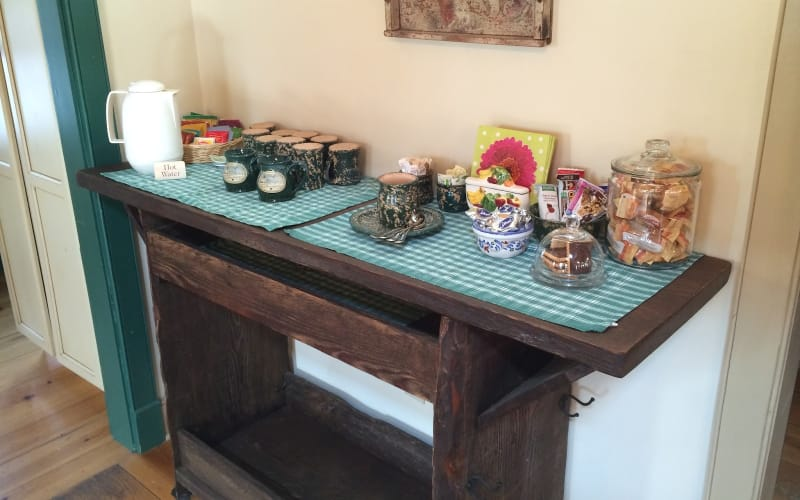Coffee, anyone? It's all set up on the new Barnwood Table.