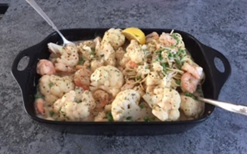 Easy, Decadent, Shrimp, Peas, and Cauliflower Casserole