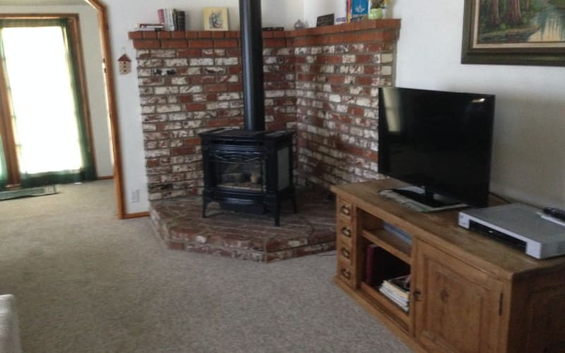 Living area offers a propane heater, looks like a wood stove