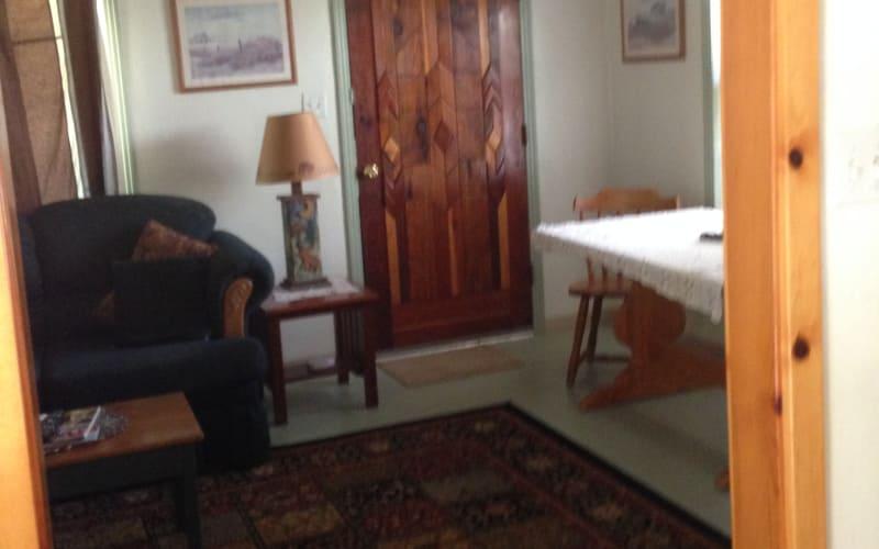 Living area with custom wood doors