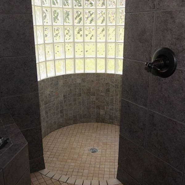 the giant glass block shower at The Villa at Waters Edge - a Luxury Vacation Rental on Lake Wylie in Belmont NC