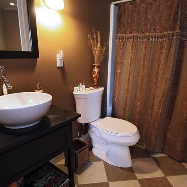 bathroom in the ambassador room at The Villa at Waters Edge - a Luxury Vacation Rental on Lake Wylie in Belmont NC