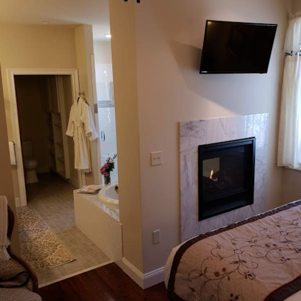 See thru fireplace from bedroom into tandem deep soaking tub