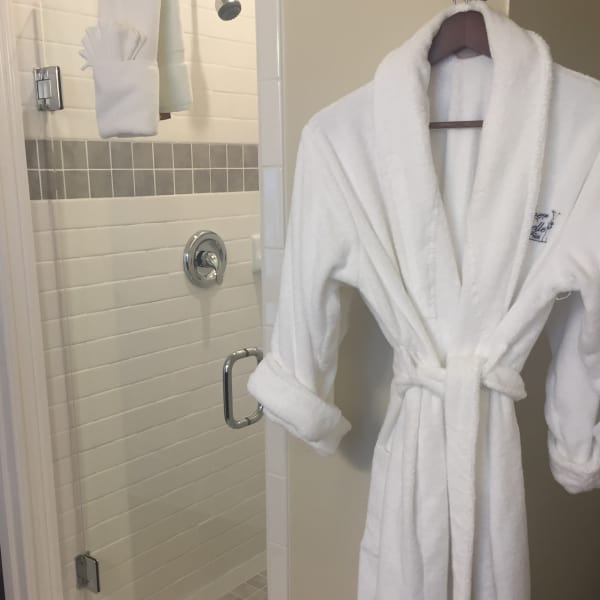 Private Bathroom features custom tile shower