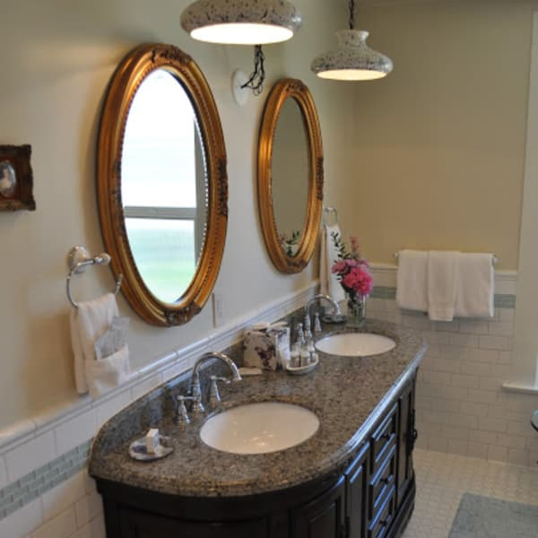 Double sink granite vanity