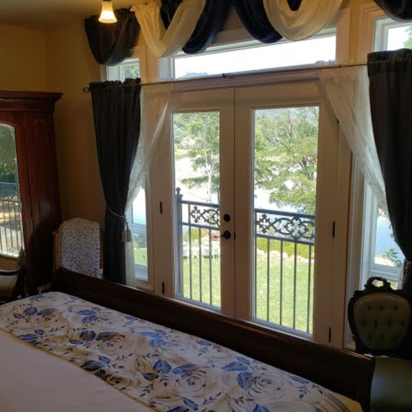 """view out the french doors to the """"river's bend"""" on the Russian River"""