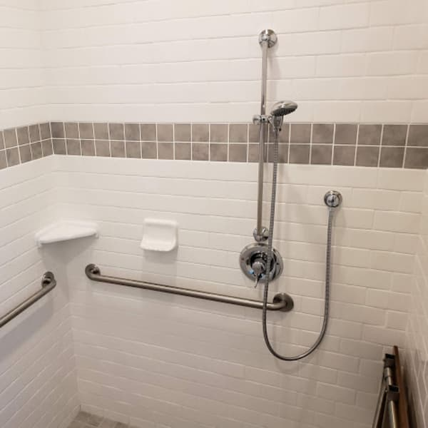 Tile walk in shower room