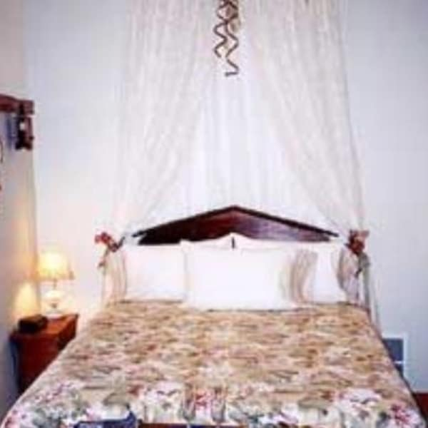 The Piedmont Suite is on the third floor.  Access is from the third floor parlor.  Queen bed, dresser and side table with lamp, circular window overlooks patio and gas fireplace . Civil War motif and pictures adorn the walls.  Has a bath with tub and shower.