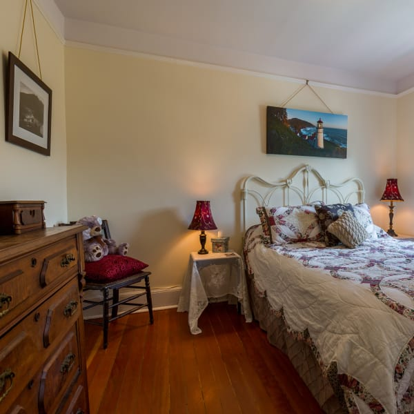 Cape Cove room is decorated with photographs and design illustrations of Conde McCullough's Cape Creek bridge.