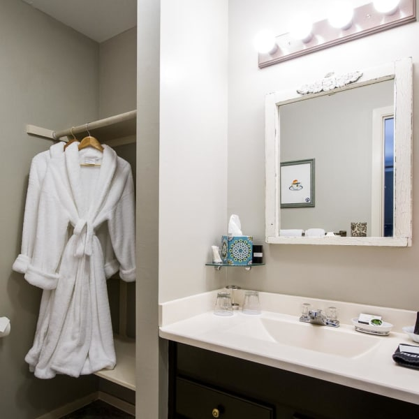 Bathroom with sink, toilet, shower and robes