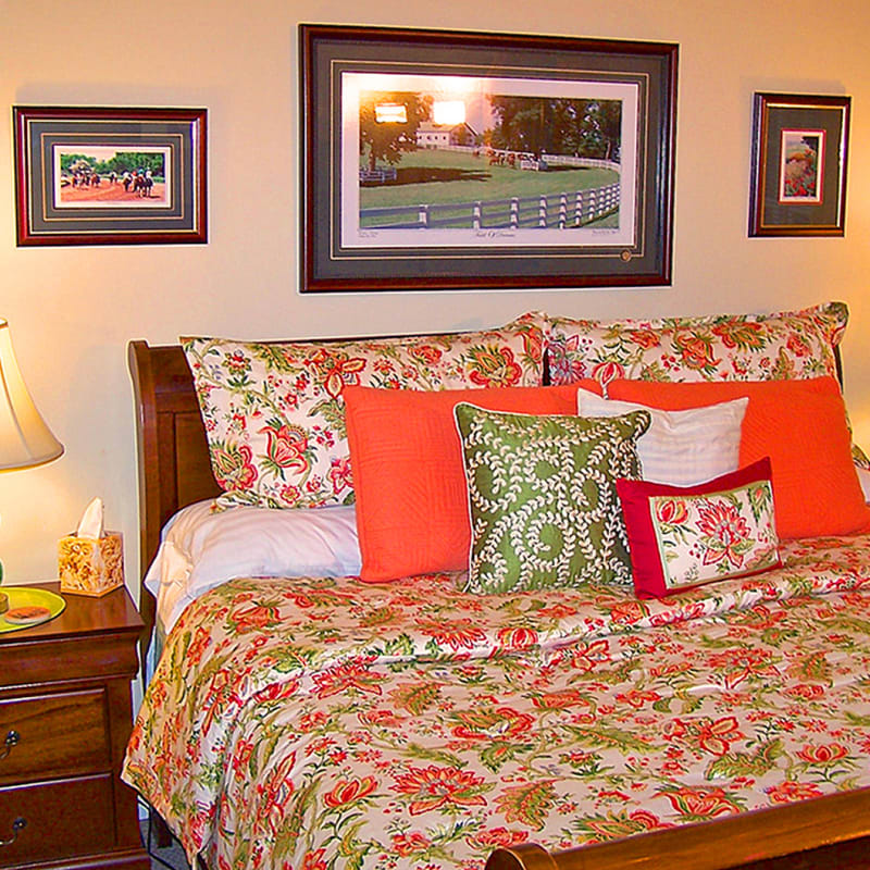 A King Sleigh Bed with a Pillow-top mattress set.