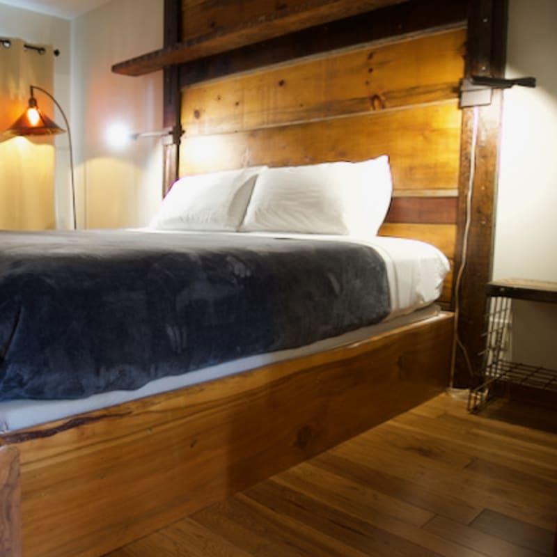 Room 26, cedar bed frame