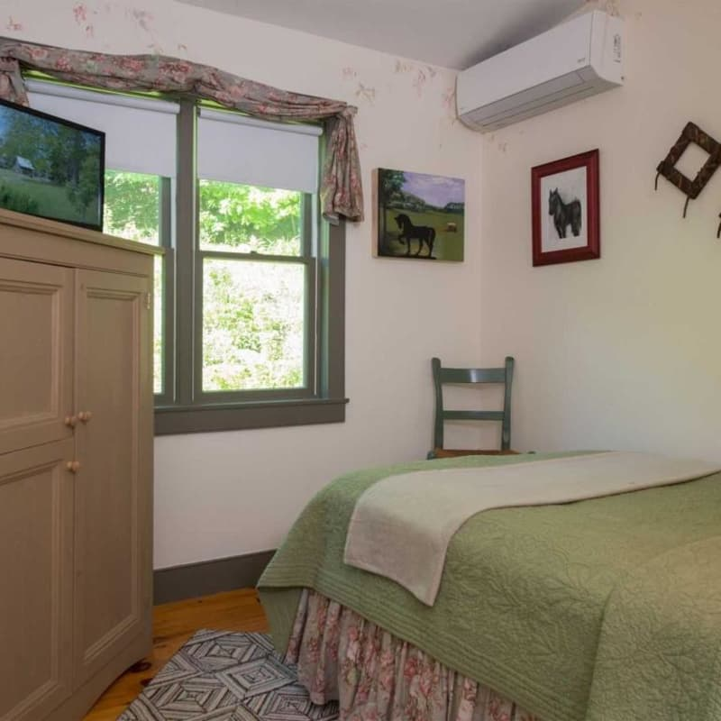 Full sized bed in Sapling room with windows and armoire with TV