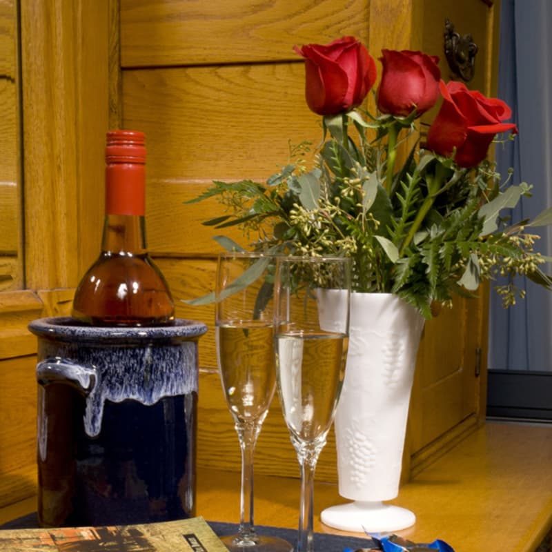 Red roses with wine in ice bucket