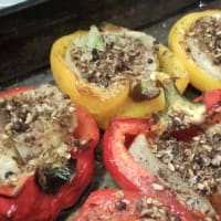 Red peppers stuffed with fennel