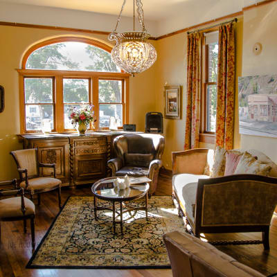 lobby for socializing: Historic Balch Hotel, centrally located on the columbia river gorge in Dufur, OR