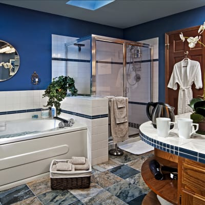 Bathroom, Suite Mama Blue double sinks, deep soaking tub, large shower, heated tile floors, fragrance-free toiletries, organic cotton towels
