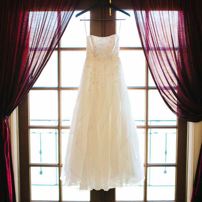 A wedding gown in the Rhett and Scarlett Room