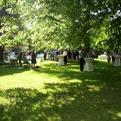Reception on side lawn with cocktail tables