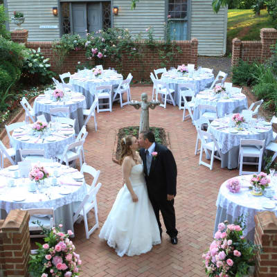 A Wedding reception set up on the Patio