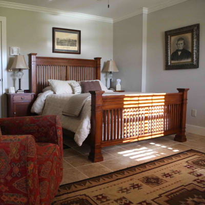 room with wood bed
