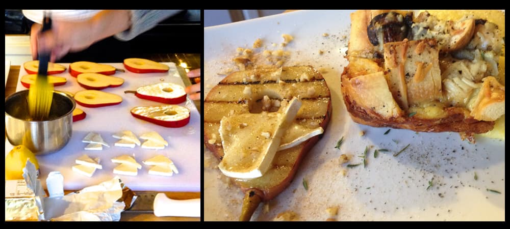 Grilled Red Pears with Maple Glaze and Brie